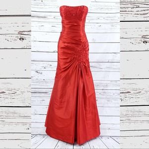 Fiesta red beaded formal ruched long like new
